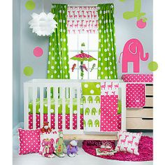 Add color and a whimsical atmosphere to your child's nursery with the Ellie & Stretch collection. Ellie the Elephant and Stretch the Giraffe are sure to delight baby in shades of French pink and vibrant greens against a crisp white background.