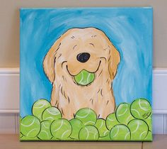Whimsical Golden Retriever original 12x12 acrylic on canvas painting tennis balls