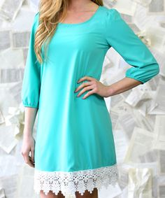 Another great find on #zulily! Dark Mint Annalise Lace Dress by White Plum #zulilyfinds
