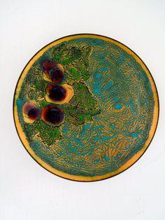 Modernist Enamel Art Plate by payMeNpeonies on Etsy, $50.00