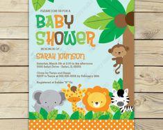 Jungle Safari Baby Shower Invitation Printable by stockberrystudio