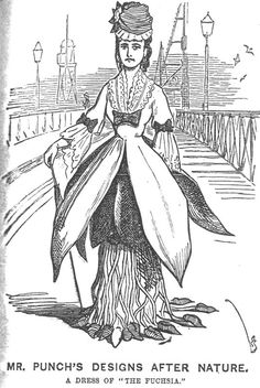 1872 Punch cartoon by Linley Sambourne (1844-1910). Visit Sambourne's preserved Victorian home at 18 Stafford Terrace, London. #History #nature #Fashion #Dress #Victorian #fashionhistory