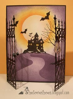 Spooky Time halloween card:die cut gates with haunted house silhouette scene Theme Halloween, Halloween Projects, Fall Halloween, Halloween Decorations, Halloween Images, Fall Cards, Holiday Cards, Carte Harry Potter, Licht Box