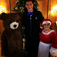 """""""Shoutout to mrs. claus and this creepy teddybear. Tis the season."""" Lol Blake is so silly! <3"""