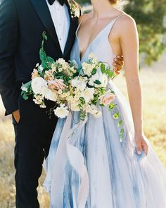 Romantic and Refined Estate Wedding Inspiration at Kestrel Park – Style Me Pretty Blue Wedding Gowns, Blue Bridal, Colored Wedding Dresses, Bridal Style, Wedding Colors, Wedding Styles, Bridal Gowns, Wedding Bouquets, Jenny Packham