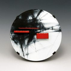 Julia Turner. 'Notation' Brooch in steel, wood, vitreous enamel, and paint........Connie Fox: Contrast of colors and abstract vs geometric.