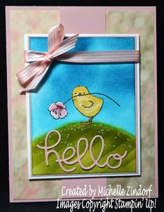 Chick with a Gift – Stampin' Up! Card Created by Michelle Zindorf - Little Cuties and Falling for You stamp sets|