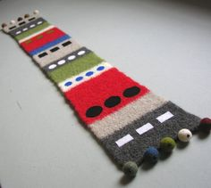 Felted wool table runner with wool beads  Colorful and by felted, $48.00
