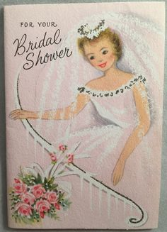 VINTAGE 1940/'s BRIDAL SHOWER INVITATIONS GIRL WITH FLOWERS   UNUSED PACK OF 12