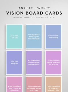 Printable Affirmation Cards Anxiety Relief for Kids, Vision Board Cards, Vision Board Printables, Vision Board Affirmations, Anxiety Gifts - Law of Attraction Affirmations Positives, Daily Affirmations, Positive Affirmations For Anxiety, Positive Quotes, Vie Motivation, Creating A Vision Board, Visualisation, Affirmation Cards, Anxiety Relief