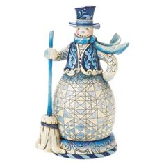 Image detail for -Blue Snowman With Broom : Sweep Away The Winter Blues Jim Shore ...