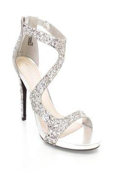 fde82a66b8f Silver Open Toe Ankle Strap Glitter Single Sole Heels · Spring ShoesSummer  ShoesHigh ...