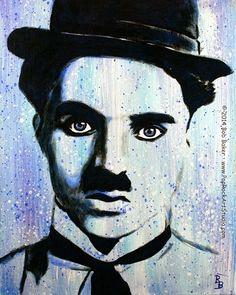 Charlie Chaplin Art, Little Tramp Portrait #art #chaplin #painting
