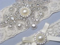 Wedding Garter Bridal Set Ivory Off White Lace Garters Crystal Rhinestone Pearl Something Blue Custom