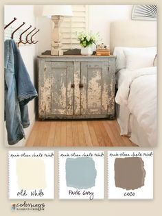 Colorways with Leslie Stocker ? To add character to modern decor, Annie Sloan Chalk Paint? Old White, Paris Grey, Coco on old cupboard Distressed Furniture, Rustic Furniture, Diy Furniture, Annie Sloan Chalk Paint Furniture, Furniture Design, Western Furniture, Furniture Assembly, Furniture Projects, Furniture Makeover