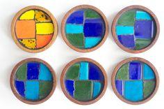 70's BLUE, GREEN & ORANGE Ceramic and Wood Coaster Set of Six Housewarming GIft