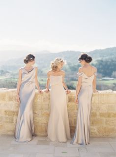 These gorgeous ladies are featured in Jenny Yoo Madelyn and Blake bridesmaid dresses! The Madelyn dress comes in our Liquid Charmeuse fabric while the Blake comes in our Glitter Knit!