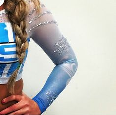 VAS ICE QUEENS NEW ELSA INSPIRERD UNIS OMG GIMMIE!!!!@ Cheer Outfits, All Star Cheer, Cheer Dance, Cheer Bows, Ice Queen, Cheerleading, Leather Pants, Legs, Pretty