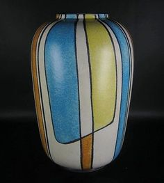 Bay-Keramik-Vase-Bodo-Mans-Design-50er-60er-Jahre-Vintage-German-Pottery Bodo, Keramik Design, Keramik Vase, Pottery Painting, Beer Bottle, Flask, Modern, Sculptures, German