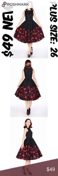 """Audrey Pin Up Dress Vintage Clothing 50s Plus Size Pin Up Dress ▶NEW WITHOUT TAGS ▶SIDE ZIPPER ▶MATERIAL: 97% COTTON AND 3% SPANDEX ▶BUST: 54"""" ▶WAIST: 46"""" ▶LENGTH: 44"""" ▶TAG SIZE IS 26 ▶#C16 / 611345 Dresses"""