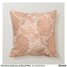 Shop Chic Rose Gold Lace & Floral Wedding Monogram Ring Throw Pillow created by GraphicBrat. Wedding Color Schemes, Wedding Colors, Chic Wedding, Floral Wedding, Gold Lace, Rose Gold, Ring Bearer Pillows, Monogram Wedding, Ceremony Decorations