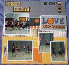 Handmade Scrapbook Layout pg. 2:  Basketball, Doodlebug Designs-Slam Dunk