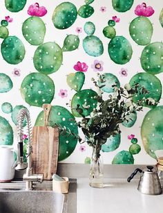 Watercolor Cactus with flowers Wallpaper, Removable Wallpaper, Self-adhesive Wallpaper, Floral Wall