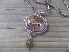 beaded pendant  Dawn with lepidolite
