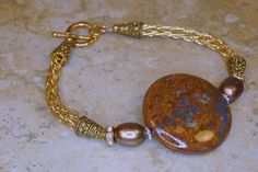 Amazon.com: Viking Knit Bracelet with Golden Turquoise and Pearls: Handmade