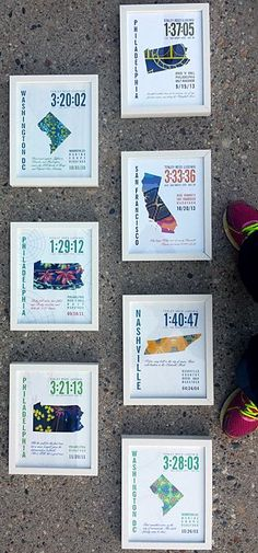 Great gifts for runners - these are my sister's accomplishments!!  Prints by J.Hill Design, Boston  http://www.jhilldesign.com/collections/prints-for-runners