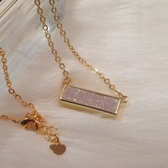 "White Druzy Necklace Gorgeous white rectangular druzy necklace.  The chain length is 18"" with a 1"" extender.  The druzy and chain are gold plated, the stone is lead and nickel free. Jewelry Necklaces"