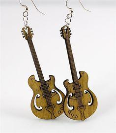 Guitars Laser Cut Wood Earrings by GreenTreeJewelry on Etsy from Green Tree Jewelry. Laser Art, 3d Laser, Laser Cut Wood, Laser Cutting, Wooden Earrings, Wooden Jewelry, Jewelry Tree, Jewelry Crafts, Gravure Laser