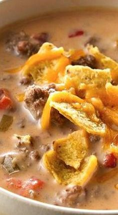 Beefy Nacho Soup Recipe quick and easy meals Healthy Soup Recipes, Mexican Food Recipes, Beef Recipes, Recipies, Hamburger Crockpot Recipes, Hamburger Soup, Chicken Soup Recipes, Delicious Recipes, Vegetarian Recipes