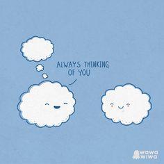 ALWAYS THINKING OF YOU Enlazado de http://www.wawawiwadesign.com/ilustraciones.php?pag_actual=4 #videowhatsapp #imagenesdivertidas