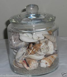 I could fill a large jar with the shells I have.  Definately will do this! for living room