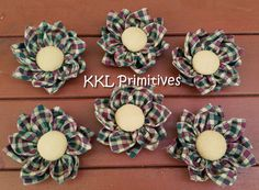 6 DOUBLE LAYERED Homespun Fabric Flower by kklprimitives on Etsy