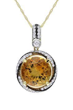 14K Yellow Gold Round Citrine & Two-Tone Diamond Halo Pendant Necklace