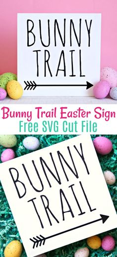 Create this adorable Bunny Trail Easter Sign using the FREE SVG Cut File in less than an hour. The perfect little sign to add to your Easter decor! signs Adorable Bunny Trail Easter Sign and Free SVG Cut File Easter Bunny Decorations, Easter Decor, Easter Traditions, Hoppy Easter, Free Svg Cut Files, Easter Printables, Easter Crafts, Easter Art, Svg Cuts