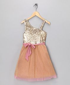 Take a look at this Gold Sequin Bow Dress by Elisa B. on @zulily today! Just bought this for Hannah. :)