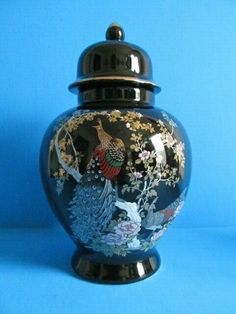 """BLACK GINGER JAR HAND PAINTED PEACOCKS & FLORAL DECOR WITH GOLD ACCENTS 8.5"""""""