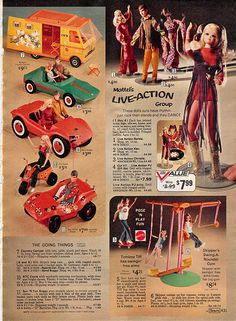 Barbie's Country Camper, Sports Car, Dune Buggies, ATV Cycle, Live-Action Barbie, Ken, Christie and P.J., Tomboy Tiff and Skipper's Swing-a-Round Gym from the Sears Christmas Wish Book Catalog, 1972