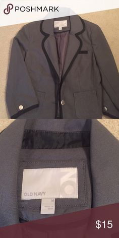 Blazer- Grey with black piping Old Navy cropped blazer. 3/4 sleeves. Great with jeans or pants. Old Navy Jackets & Coats Blazers