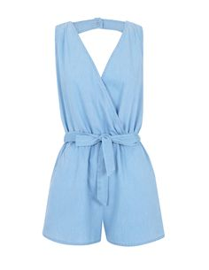 Crossed Neck Denim Jumpsuit