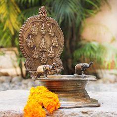 Heritage Vilakku - Traditional Brass Oil Lamp Of 9 Hindu Gods and Goddesses. Ht 22 cm x W 14 cm Om Art, Silver Pooja Items, Pooja Room Door Design, Puja Room, Hindu Art, Indian Gods, Back To Nature, Gods And Goddesses, Oil Lamps