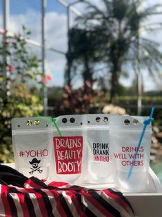 Because drinking out of a Party Pouch is more fun. Just fill with ice, pour your drink of choice and enjoy! Great for all kinds of parties; Parades, Bachelor/Bachelorette, Tailgating, College Basketball and Football events, Sorority Mixers, Weddings, Engagement Parties, Beach Days, House Parties, Corporate Events, Promotional events for your brand & more! #gentlemanpirateclub #partyflavors #piratethemed #etsy #pirates Pirate Party Favors, Pirate Theme, Drink Bag, Engagement Parties, Promotional Events, Planner Pages, College Basketball, Beach Party, House Party