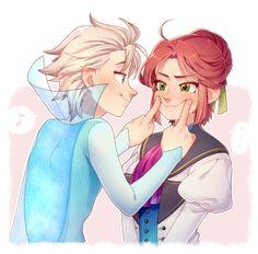 Frozen - Elsa and Hans : Genderbend Anime Disney Princess, Disney Pixar, Disney Princesses And Princes, Disney Fan Art, Disney Cartoons, Disney And Dreamworks, Disney Frozen, Disney Gender Swap, Gender Bent Disney