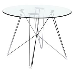 Replica Eames Eiffel DSR Round Glass Dining Table, Chrome Legs