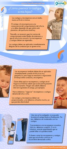 Cómo se debe premiar y castigar a los hijos, Happy Family, Counseling, Psychology, Spanish, Parents, Dads, Life, Infographics, Bb