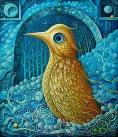 """""""Złoty Ptak"""" Akryl 70x60 cm"""