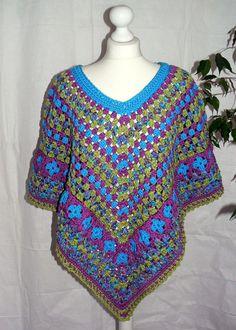 Crochet PONCHO Size M-XL pink black BOHO Ethnic by CrochetRagRug